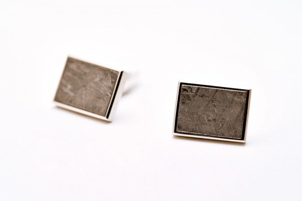Manschettenknöpfe, 925/-Silber, Meteorit